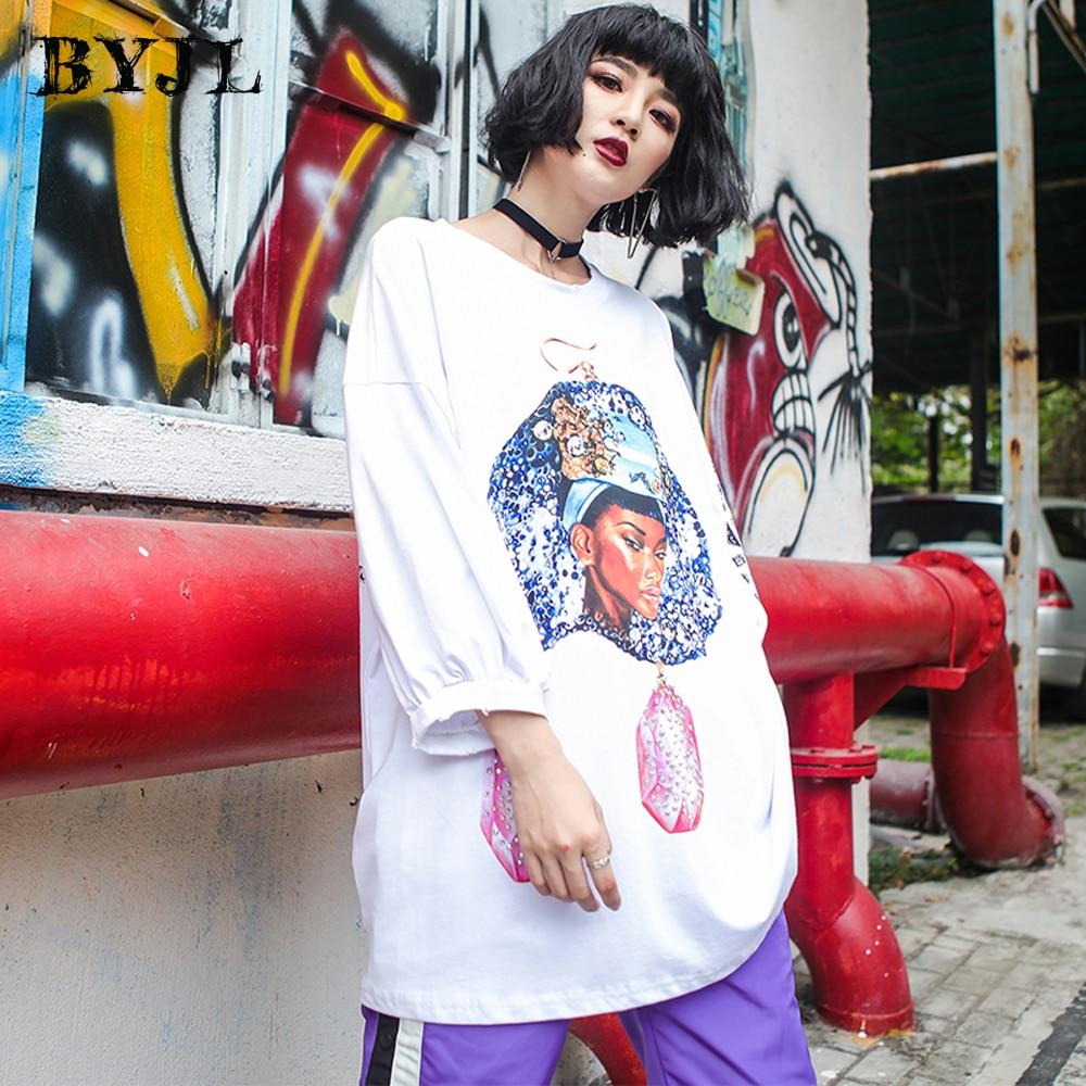 Harajuku Hip Hop coton T Shirt femmes grande taille Streetwear O cou tous les jours à manches longues Style coréen Long T-shirt lâche SZ1631
