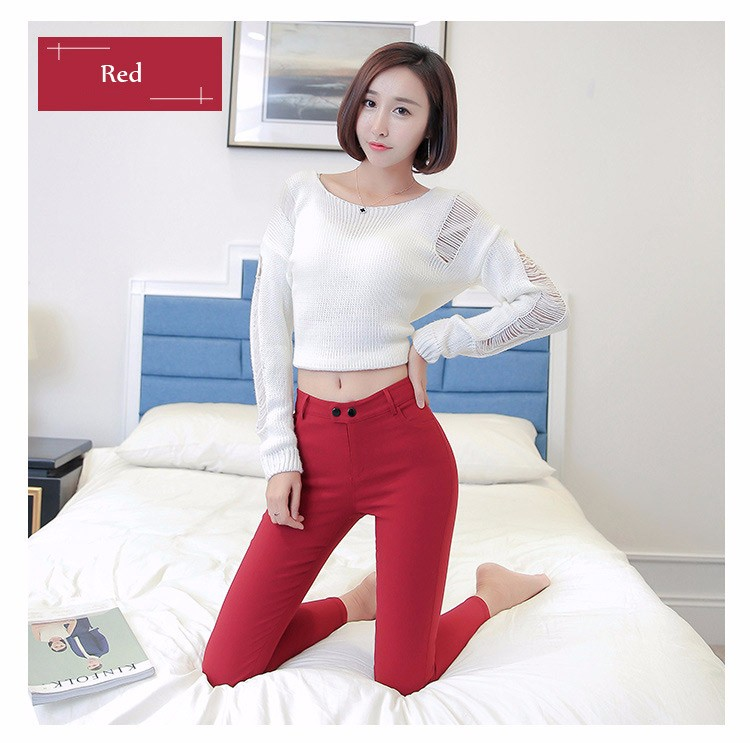 7 Colors Plus Size Pants Full Length Women Spring Autumn Pencil Pants Causal Slim High Waist Legging Stretch Trousers 2016 A663  e