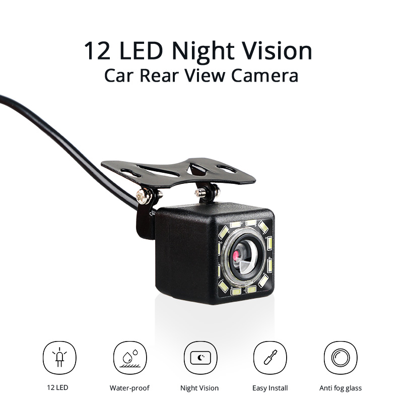Car Rear View Camera Universal Auto Backup Parking Camera 12 LED Night Vision Waterproof  Wide Angle HD Color Image