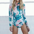 2017 Summer European&American Bathing Suit One Piece Long Sleeve Swimwear Women Siamese Bikini Conservative Spa Beach Wear 62327