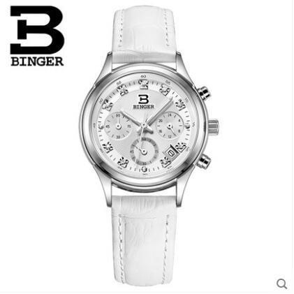 Switzerland Binger Luxury Watches Auto Date Display white Strap Wristwatch Relogio Feminino Quartz Analog Dress Women Watch l 10 women s stylish petals style bracelet quartz analog wristwatch golden white 1 x lr626