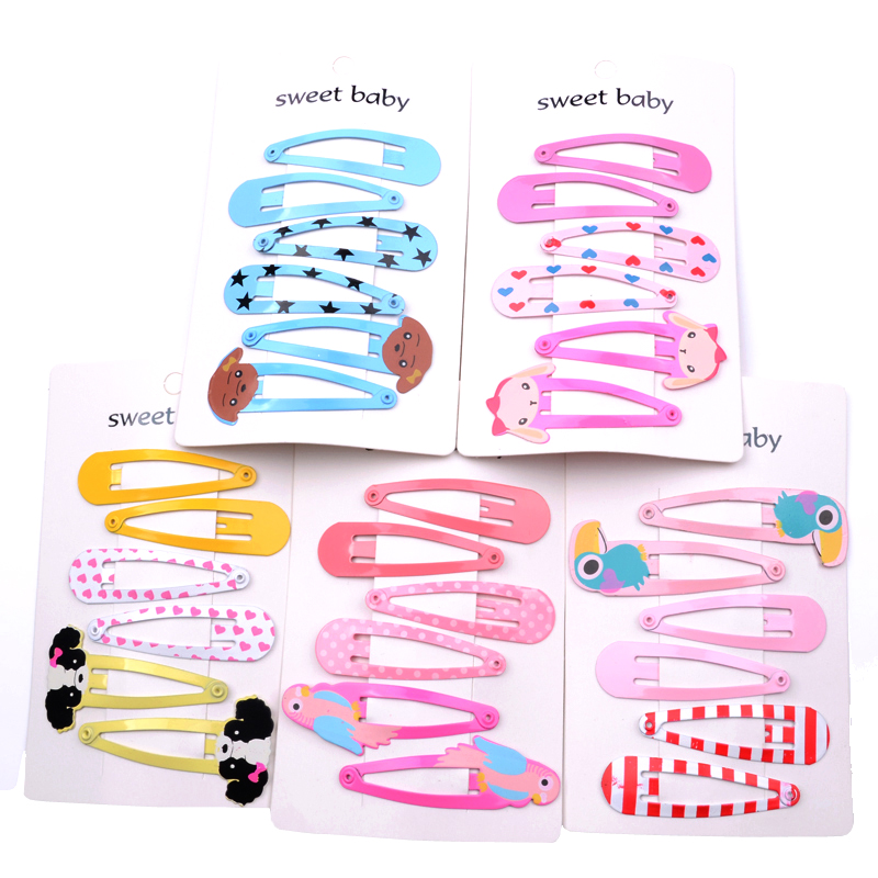 6Pcs/Set Fashion Children   Headwear   Cute Animal Hair Clips Printing Dog Flamingo Hairpins Geometric Hair Tiara Hair Accessories