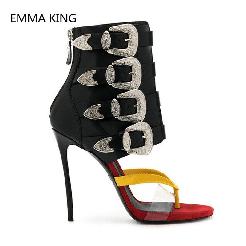 Nouveau Design femmes string gladiateur sandales boucle sangle dames partie mince talons hauts chaussures femme mode été cheville sandales botte