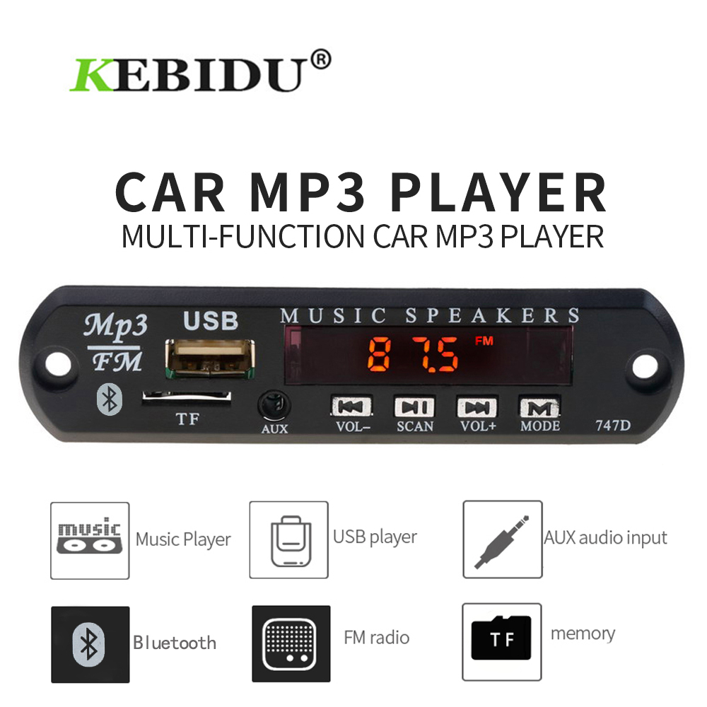 KEBIDU Universal Wireless Bluetooth 5V 12V USB SD(TF) AUX FM Radio MP3 WMA Decoder Board Audio Module With Remote For Car DIY(China)