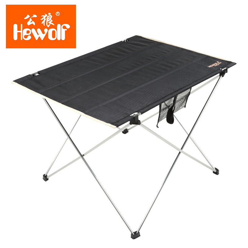 Hewolf 1Pcs Outdoor Tools Ultralight Portable Table for Camping Hiking Picnic Table Leisure Barbecue Aluminum Alloy Oxford Cloth