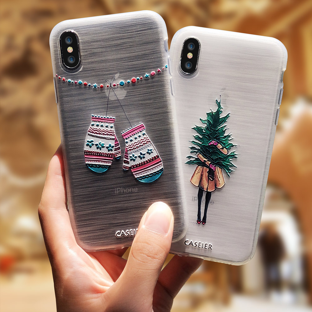 CASEIER 3D Cases For iPhone XS Max XR Case Christmas Cover For iPhone X 6 6s 7 8 Plus 5 5s SE Relief Phone Shell Coques Capinhas
