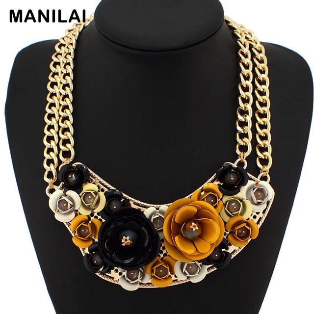 MANILAI Exaggerate Design Fashion Collars Multicolor Spray Paint Metal Flower Statement Necklaces Women Luxury Jewelry