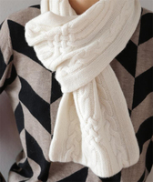 100%goat cashmere twisted knit scarfs for unisex solid color 26x85cm
