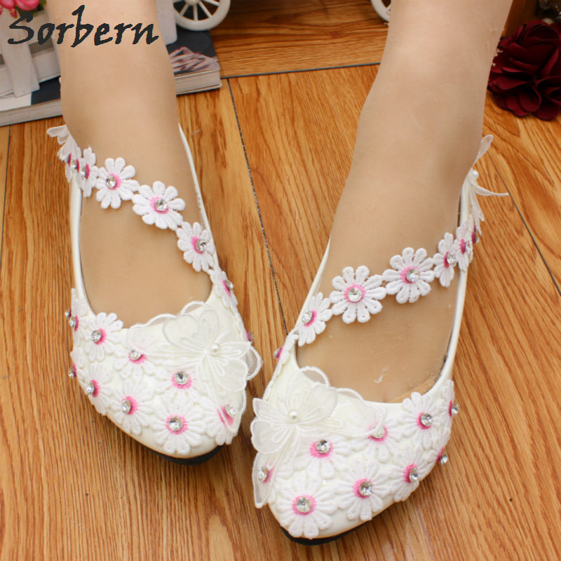 Sorbern Cute Flower Pink Stamens Ladies Wedding Shoes Flower Straps Low  Heels Slip On Crystals Spring Flower Women Pump Heels-in Women s Pumps from  Shoes on ... 50ad84ac2837