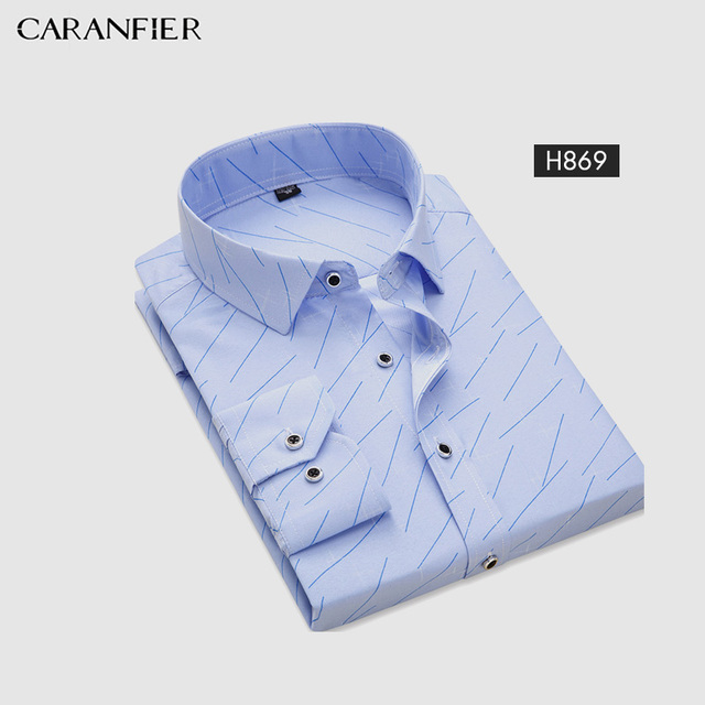 CARANFIER Polyester Mens Casual Long Sleeved Shirt Plaid Striped Spring Slim Fit Men Business Shirt Brand Comfortable Breathable Men's Plus Size formal Shirts