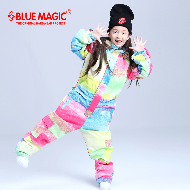16-17 snow ski suits bluemagic for kids waterproof jumpsuit girls boys snowboard jacket overall -30Degrees