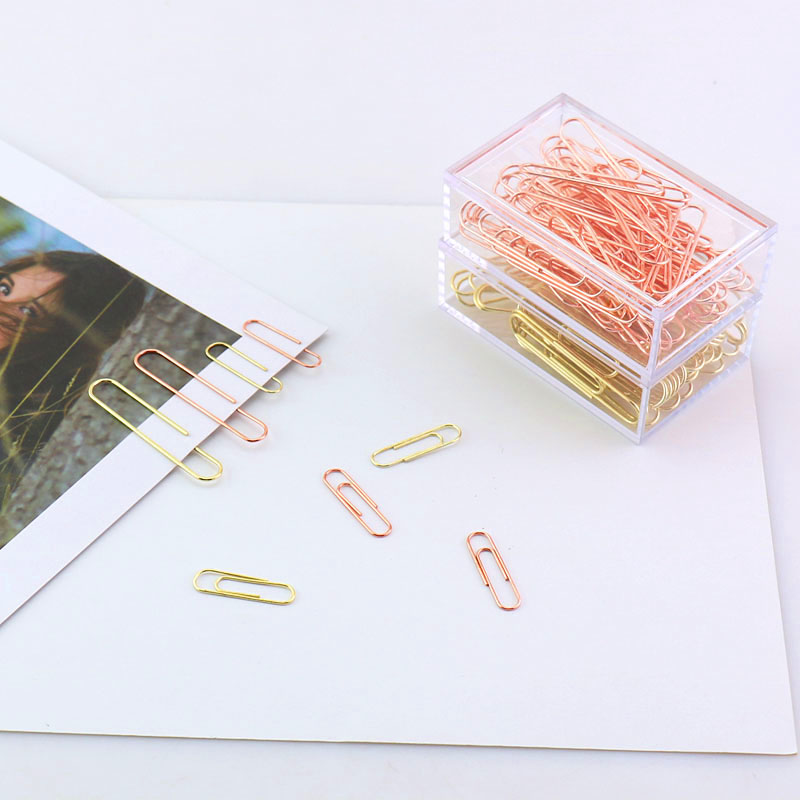 TUTU Rose Gold Fashion Paperclip Logam Kertas Klip Foto Klip Kertas Klip Dekorasi Hadiah Perlengkapan Kantor Stasioner H0089