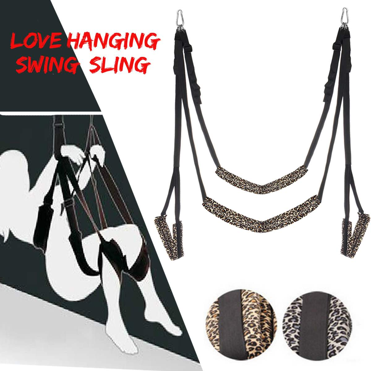 Meselo <font><b>Adult</b></font> <font><b>Sex</b></font> Bdsm Toys Leopard Love <font><b>Sex</b></font> Products Chair Strap Door Hanging <font><b>Swing</b></font> Sling Couple Game Fantasy Couple Fun Toy Set image