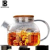 1L Japanese Heat Resistant Glass Lemon Flower Teapot Direct Fire Heating Kettle Kit + 220V Electric Ceramic Heaters Boiled Stove