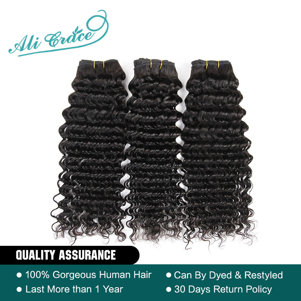 Ali Grace Hair Brazilian Deep Wave 3 Bundle Deals 100% Brazilian Remy Hair 10-28 Inch Deep Curly Wave Brazilian Human Hair(China)