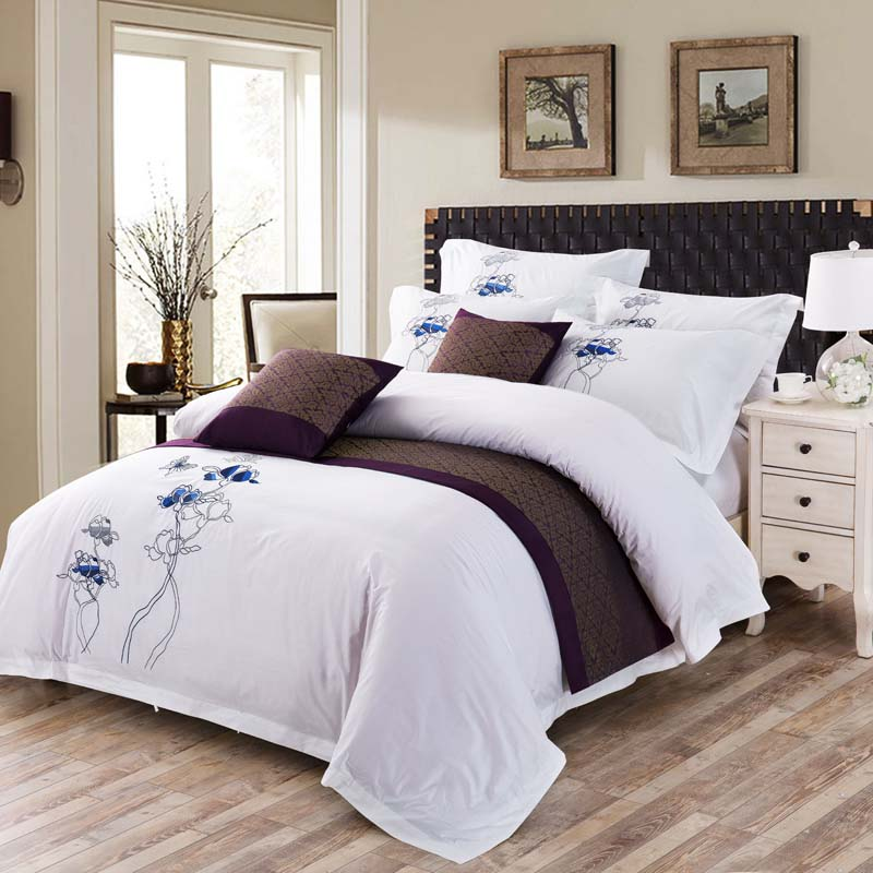 Luxury 100% cotton Embroidery home bedding set white satin duvet cover sets oriental vintage style bed linen bedclothes