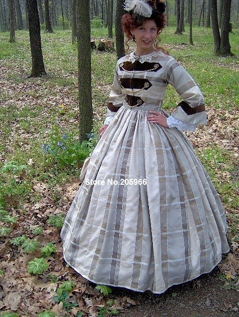 1800s Victorian Gown 1860s Civil War Day Dress With 1862 Military Style Reenacting Costume Dress Up Fashion Designer Gown Kidsdress Clubbing Aliexpress