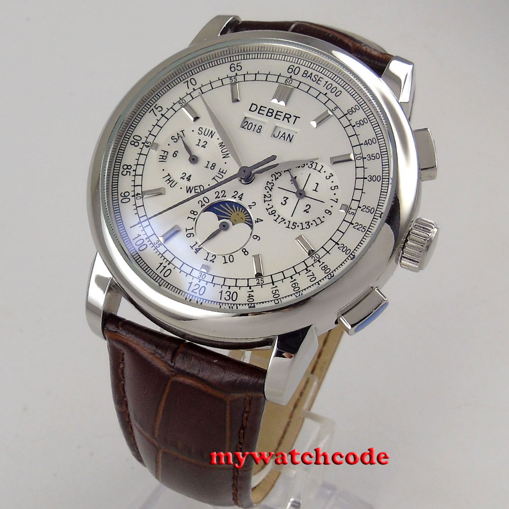 famous brand 42mm debert white dial date day coffee strap multifunction automatic mens Watch цена и фото