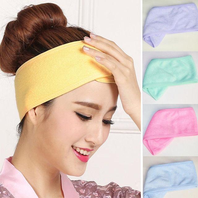 Women Spa Bath Shower Wash Face elastic Head turban Ladies Cosmetic Yoga Headband fabric Towel bandana Make Up tiara Hair