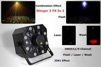 Derby Laser Wash 3IN1 LED Effect Lights 8X1W White LED + 8X3W RGBWA 5IN1 LED Stage Effect Lights With 200mw Laser Lights