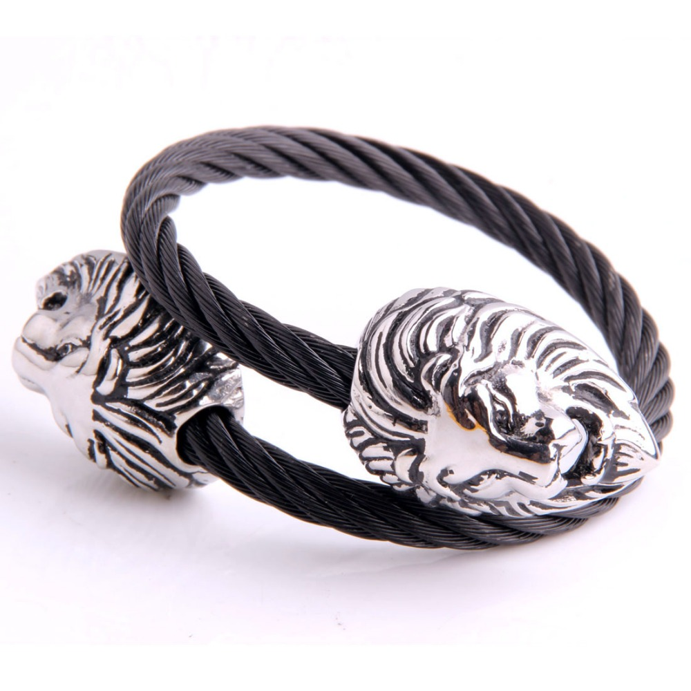 New Arrive 316L Stainless Steel Silver Double Lion Head Black Wire Cable Chain Cuff Bangle Bracelet Mens Biker Jewelry Xmas Gift