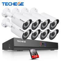 Techege 8CH 1080P POE NVR 48V POE NVR 2 0MP 3000tvl NIght Vision IP POE Camera