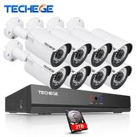 Techege 8CH 1080P POE NVR 48V POE NVR 2 0MP 3000tvl NIght Vision IP POE Camera