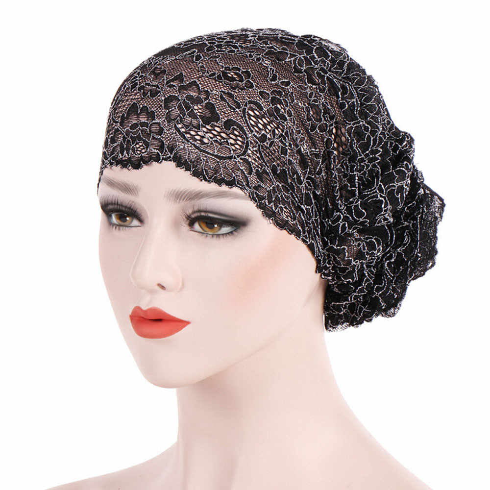 02a43cbbd Winter Hats Women for Muslim Ruffle Lace Cancer Chemo Hat Beanie ...