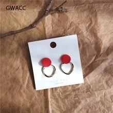 купить GWACC 2019 NEW Design Bright Color Round Hollow Stud Earrings For Women Girls Chic Minimalist Red Earrings Fashion Jewelry boho дешево