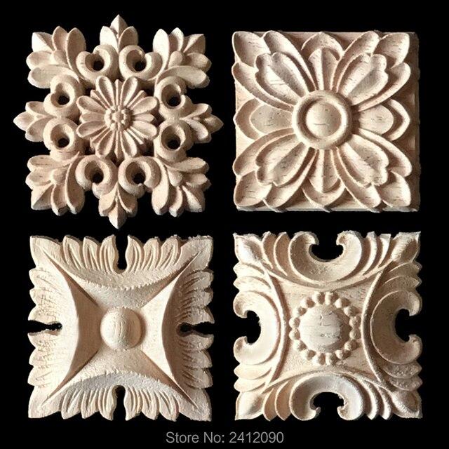 4 stücke Holzschnitzerei Applikation für Möbel Schrank Blume ...