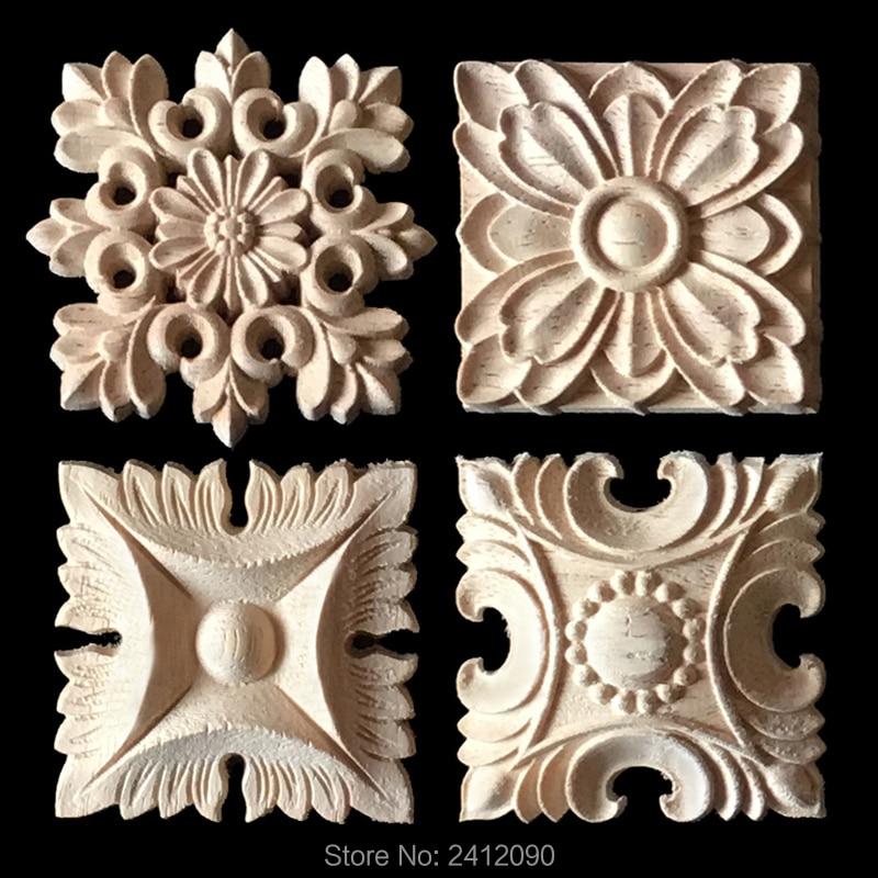 13 55 Aplique Para Tallar Madera 4 Uds Muebles Gabinete Flor Decoración Náutica Tallada Artesanía Molduras Decorativas Calcomanía