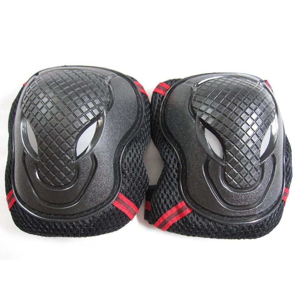 in-line skate skateboard protector three-piece set (wrist, elbow, knee) red black, S