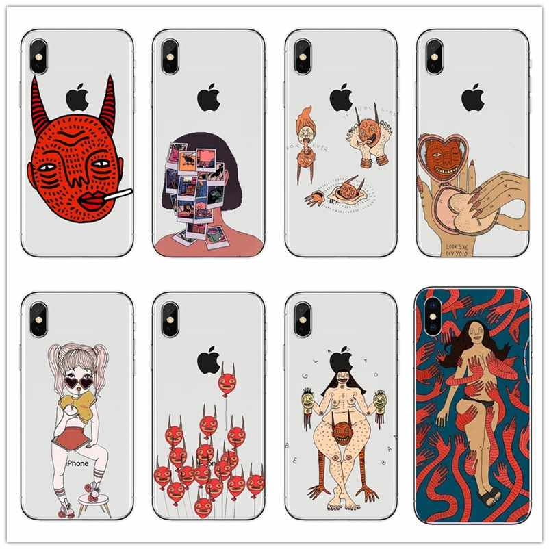 polly nor painting art soft Silicone black cover phone case for iPhone 7 plus 8 plus SE  X XS XS MAX Tpu best design Housin case