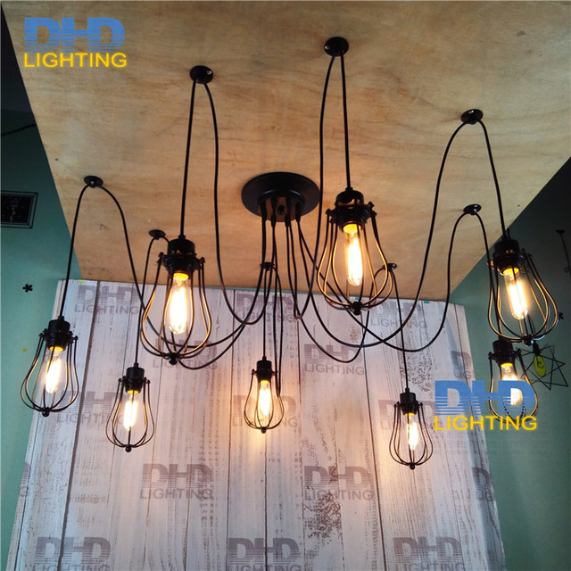 Free Shipping Black Small Iron Cage Chandelier Vintage Edison Filament Lighting Fixture Hot Ing Diy