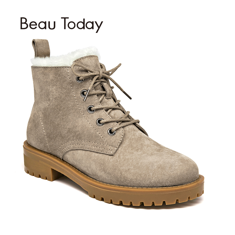 8872eea014172 BeauToday Wool Snow Boots Women Suede Leather Round Toe Lace-Up Platform  Winter Ladies Ankle Length Shoes Handmade 03281