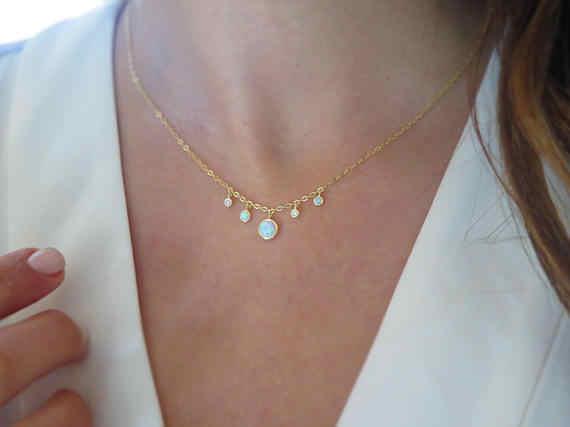 אותנטי 925 כסף סטרלינג chocker cz אופל תכשיטי זהב שרשרת אלגנטית נשים מדהים יפה לבן אופל תליון שרשרת