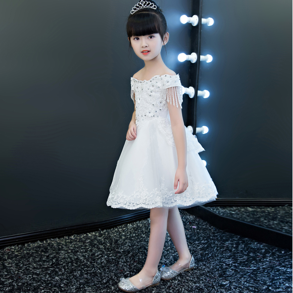 Elegant Luxury White Color Girl Kids Ball Gown Princess Lace Dress Children Wedding Birthday Party Pageant Performance Dresses 1 design laser cut white elegant pattern west cowboy style vintage wedding invitations card kit blank paper printing invitation