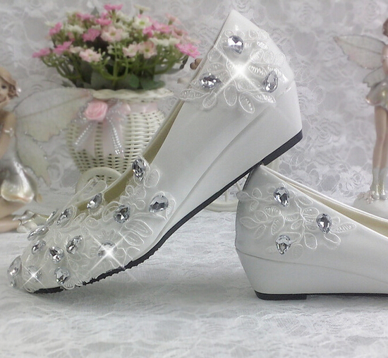 3cm wedges heel wedding shoes for women comfortable light ivory tg284 lace rhinestones bridal shoes female