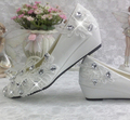 3cm wedges heel wedding shoes for women comfortable light ivory TG284 lace rhinestones bridal shoes female brides shoes