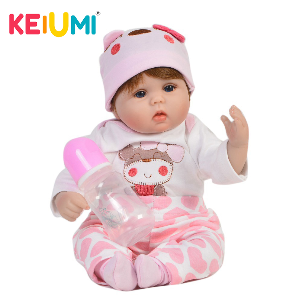 KEIUMI Collectible Baby Dolls Realistic Silicone Soft Stuffed Lovely Reborn Doll For Girl Kids Birthday Gift
