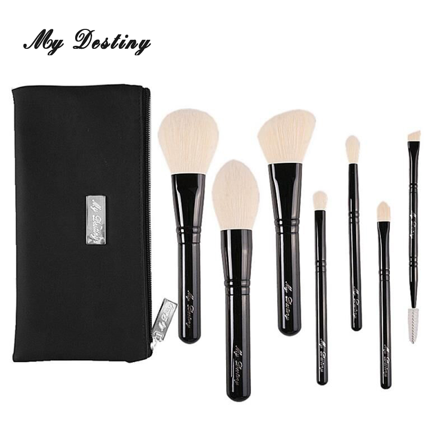 MY DESTINY 7pcs Professional Makeup Brushes Set with Bag Make Up Brush Kit Pincel Maquiagem Pinceis Brochas Pinceaux BW7S 2017 spring makeup brushes 25pcs pincel de maquiagem make up brushes kit professional of makeup brush set black leather bag
