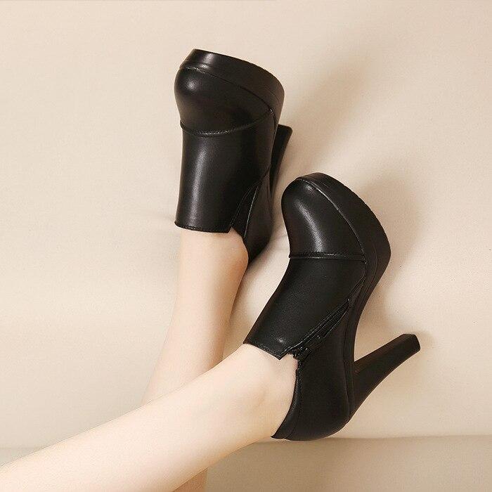 Talons Petit À Cuir Pompes Bottes En Hauts Ol Chaussures Chantiers Petits Véritable 61 Pour Taille Femme Femmes Noir 26 marron wZ7Rq7