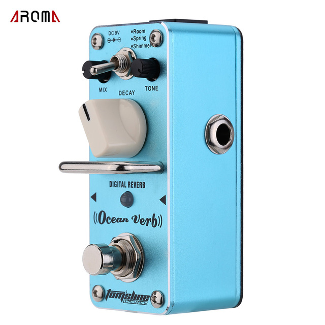 AROMA AOV-3 Guitar Pedal Ocean Verb Digital Reverb Electric Guitar Effect Pedal Mini Single Effect with True Bypass Guitar Parts aroma tom sline abr 3 mini booster electric guitar effect pedal with aluminum alloy housing true bypass durable guitar parts