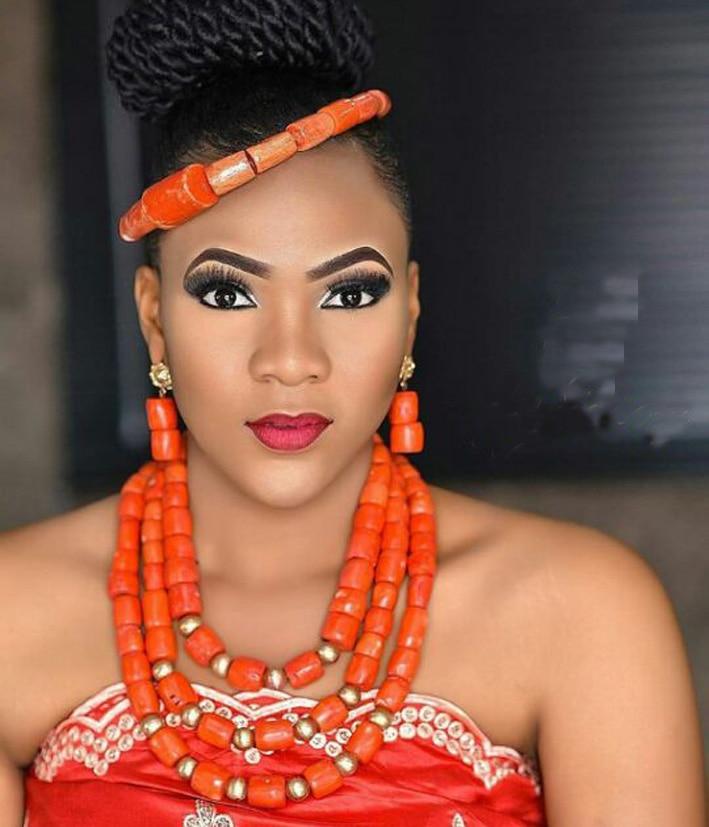 Schmuck & Zubehör Fashion Nigerian Korallen-korn-halskette Ohrringe Set Für Braut Neue Afrikanische Hochzeit Schmuck Set Freies Verschiffen Cnr665 Hohe QualitäT Und Geringer Aufwand