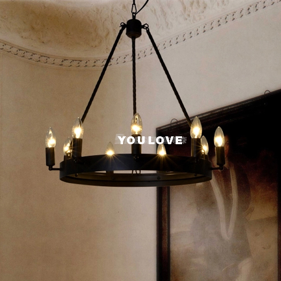 Round Foyer Lighting : American industrial round hanging lamp vintage candles