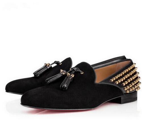 Hot Fashion Brand Design Men Shoes Slip On Rivets Stud Tassel   Suede  /  Leather   Men Loafers Flats uarache Sapato Feminino Shoes Mens