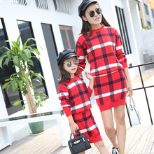 girls clothes sets elsa dress mother and daughter clothes plaid kids princess dress girl dress children