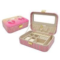 High Quality Romantic Cartoon Girl Pattern Velvet Rectangular Ring Box Storage Box Waterproof Leather Jewelry Box With Lock