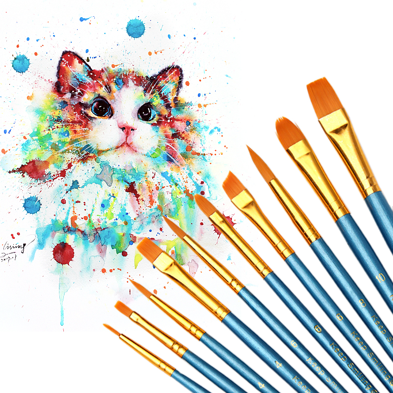 10Pcs/Set Watercolor Brushes Different Shape Gouache Paint Round Pointed Tip Nylon Hair Painting Brush Set Drawing Art Supplies