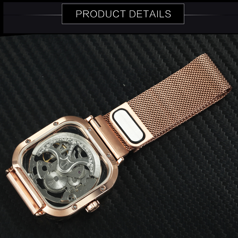 FORSINING Top Brand Luxury Unisex Watch Men Auto Mechanical Hollow Dial Magnet Strap Fashion Royal Wristwatch HIP HOP Male Clock